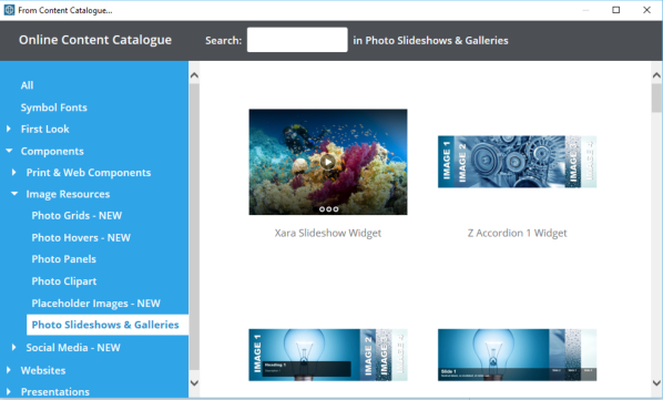 What is the Content Catalog? - Xara Desktop Support